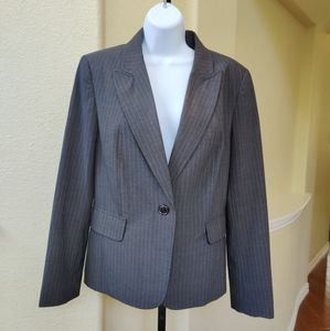 Rafaella Striped Gray 2pc Skirt Suit